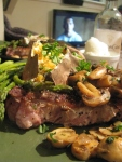 Pork Chops, Sweet Potatoes, and Asparagus in Lemon Anchovy Butter